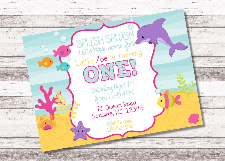 Girl\'s Under the Sea Birthday Invitation   1st 2nd Any Age Birthday ...