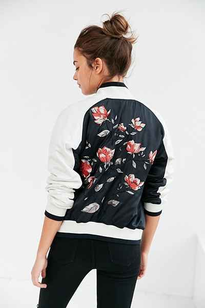 #Bomber jacket with flowers embroidered at the chest and back by Silence + Noise.