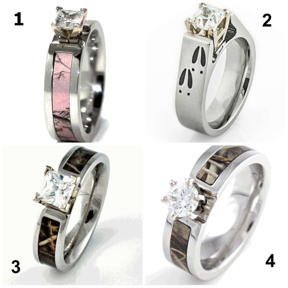 pink camo wedding rings Country gal engagement rings I m lovin the deer tracks and pink