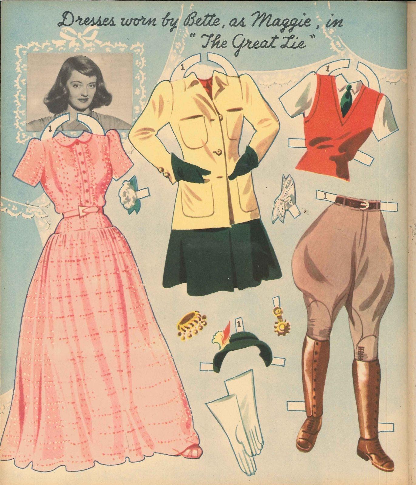 VINTAGE UNCUT 1940S FASHION PARADE PAPER DOLL HD~LASER ORG SZ REPRODUCTION~LO