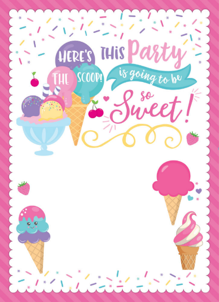 Ice Cream Party Birthday Invitation, Scoop Invitation #icecreambirthdayparty