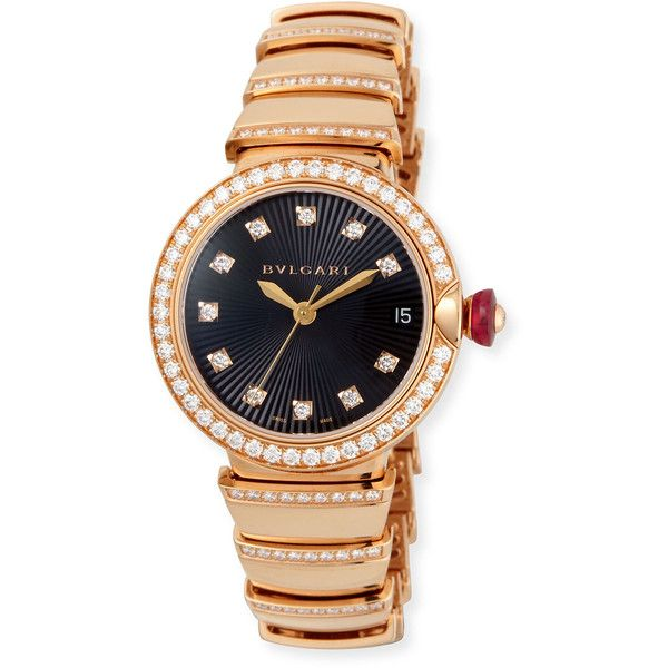 BVLGARI 33mm LVCEA Pink Gold and Diamond Watch ($44,625) ❤ liked on Polyvore featuring jewelry, watches, bulgari watches, diamond bezel watches, red gold watches, red gold jewelry and bezel watches