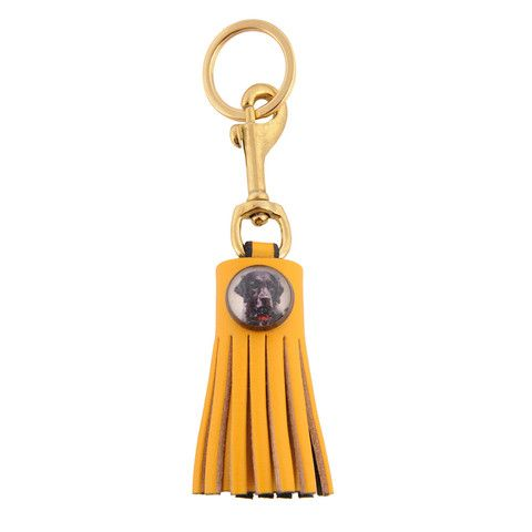 Rebecca Ray leather Tassel Key Fob in Yellow with glass rosette. Select from vintage images for glass rosette or add your monogram or initials.