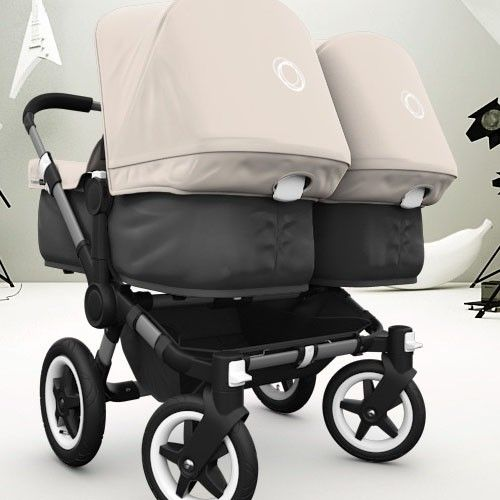 Bugaboo Donkey Twin With Black Base And Off White Fabric Bugaboo Donkey Twin Strollers Bugaboo Donkey Twin