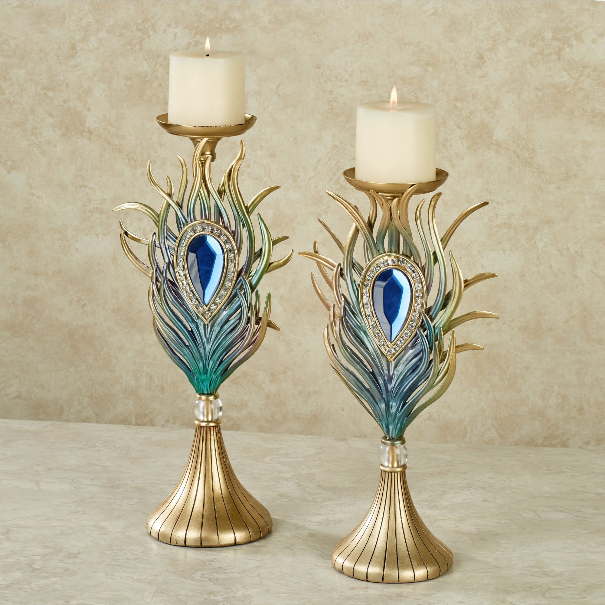 jewel peacock plume candle holders all things peacock jewel peacock plume candle holders
