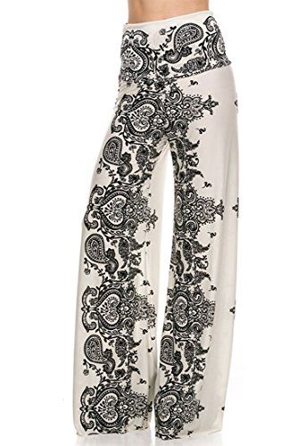 1e704786e49 Plus Size High Waist Foldover Boho Palazzo Pants 3XL White Paisley -- For  more information