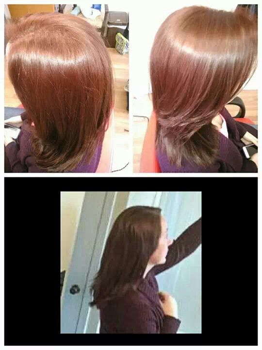Before: bottom pic (brown with slightly warm tone). After: top row- medium strawberry blonde color with side swept bang