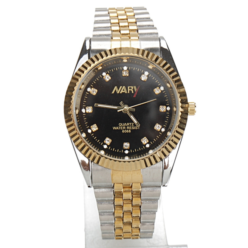 9.12$  Buy now - http://alie6u.shopchina.info/go.php?t=32668369068 - Nary Relogio Feminino Luxury Brand Man's Dress Watches Steel Quartz Watch Diamonds Gold Silver Watches For Womans & Men Watches  #buymethat
