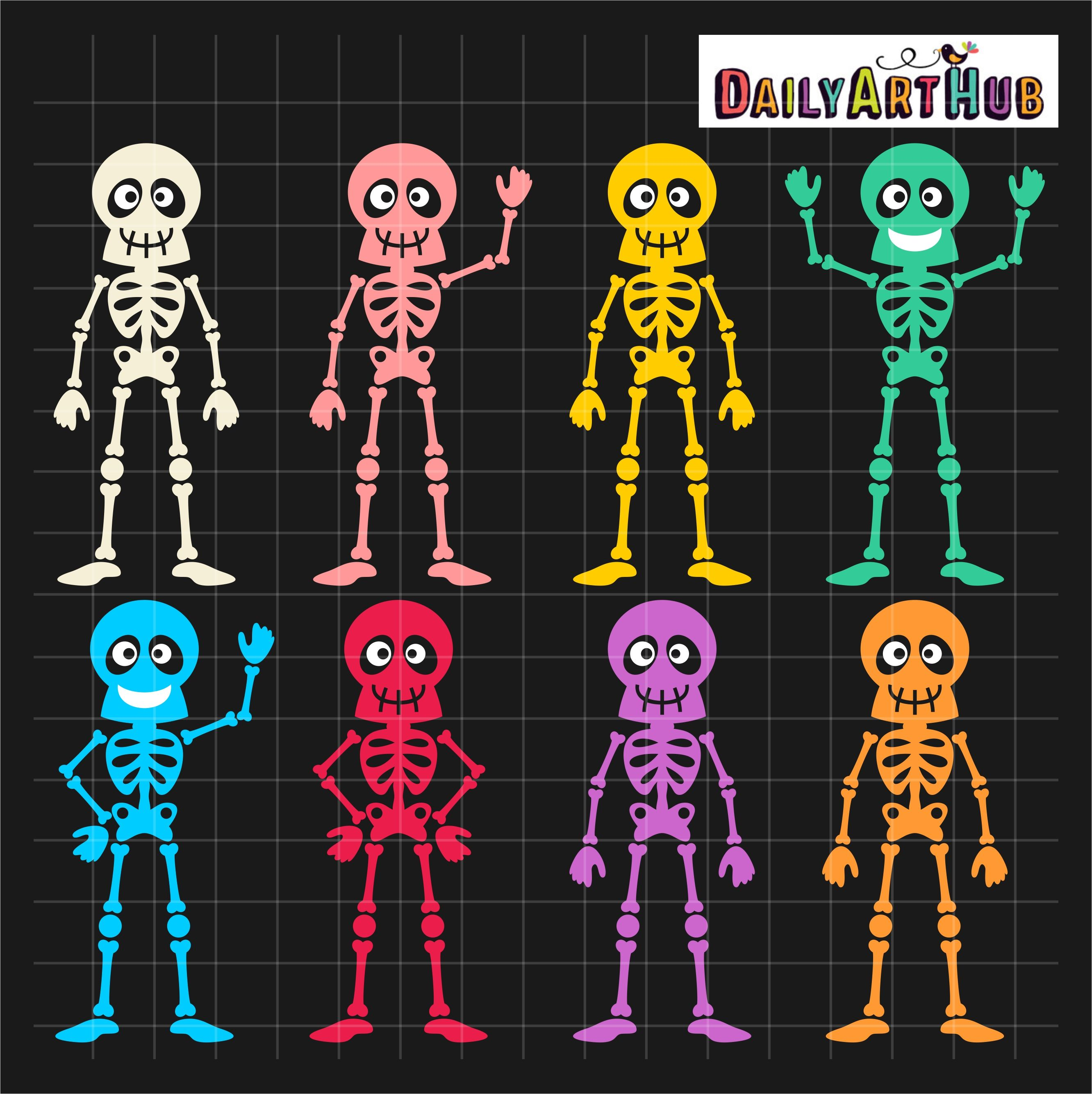 Halloween Funny Skeletons Clip Art Set Daily Art Hub