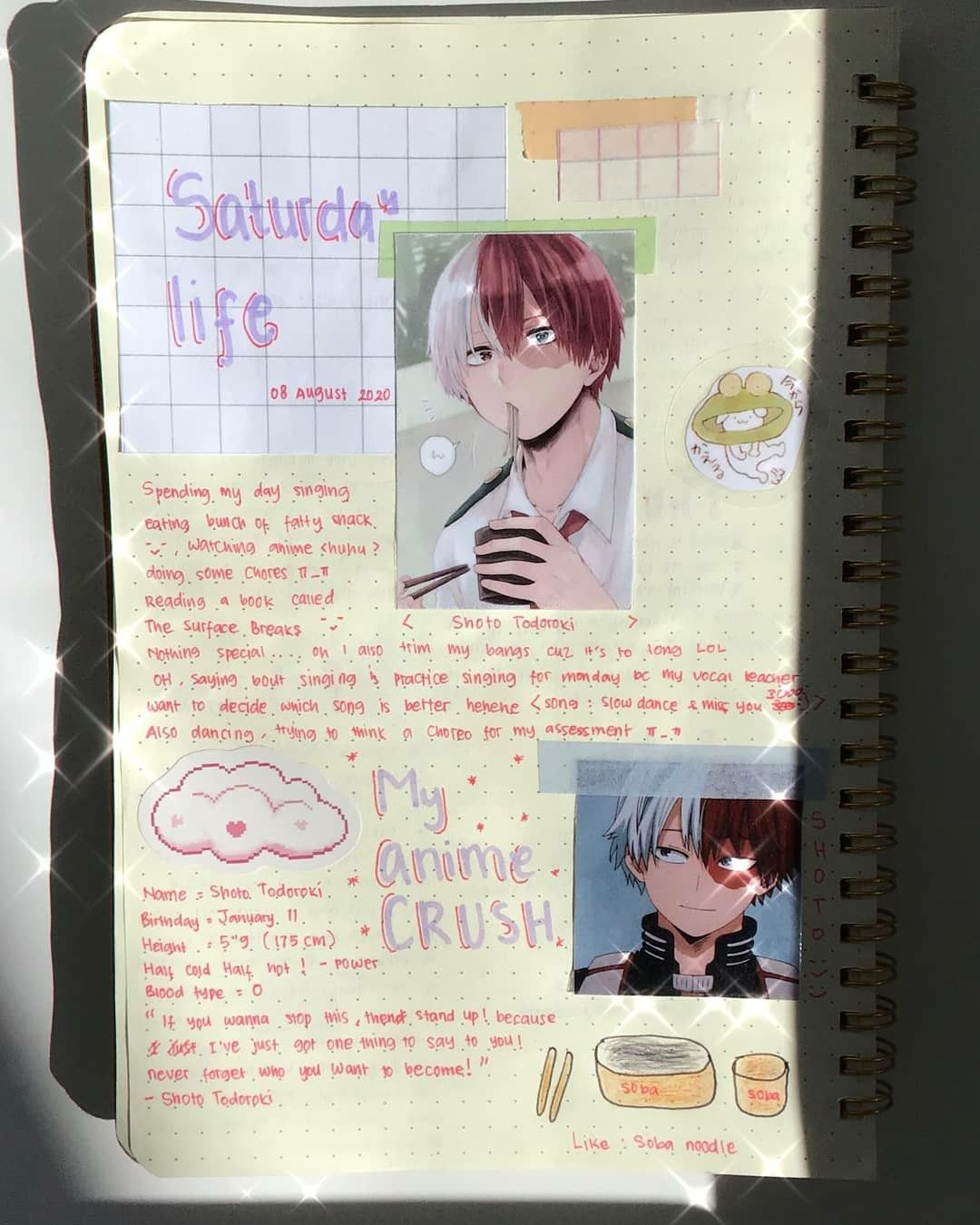 Saturday Life N Anime Crush Journal Anime Book Bullet Journal Lettering Ideas Bullet Journal Ideas Pages