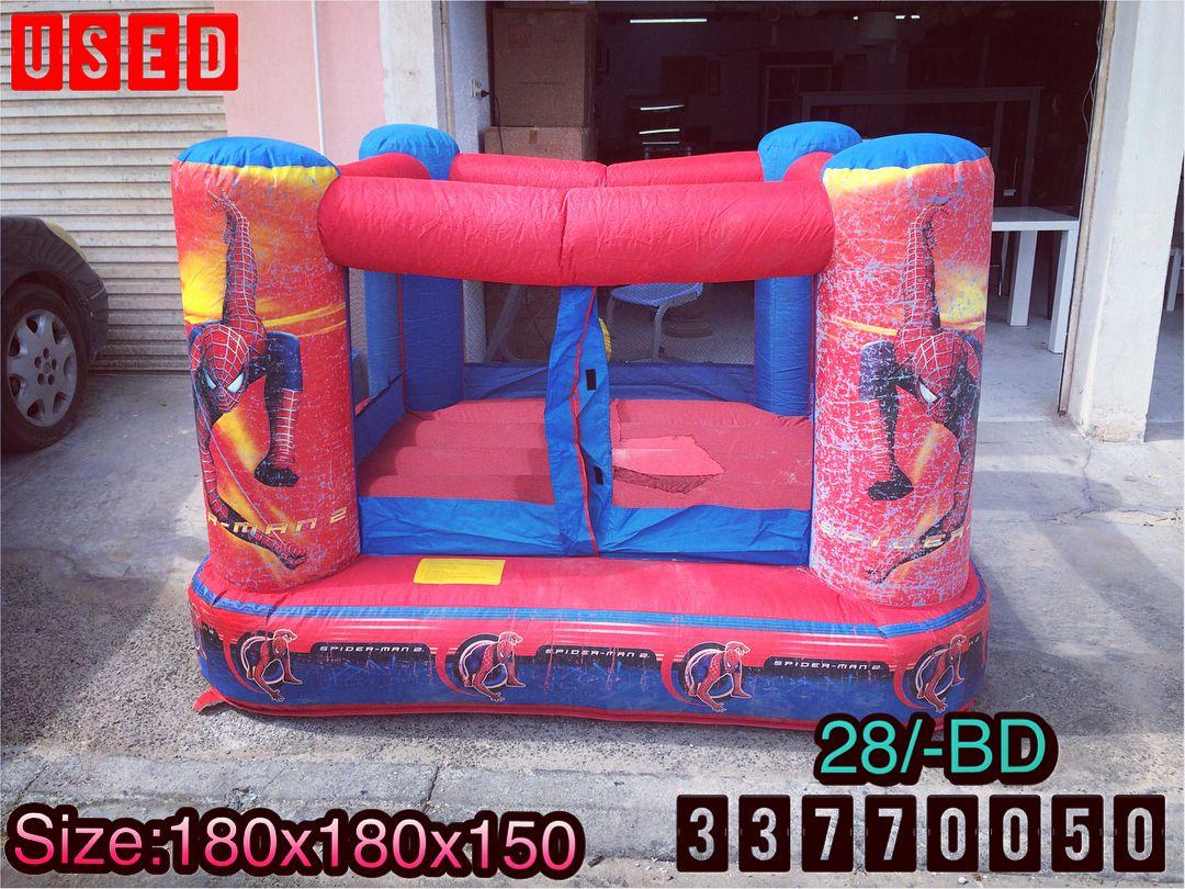For Sale Playhouse Jump Size 180x180x150 Spider Man Good Condition Price 28 Bd للبيع رجل العنكبوت بيت الهزاز للأطفال بح High Chair Decor Home Decor