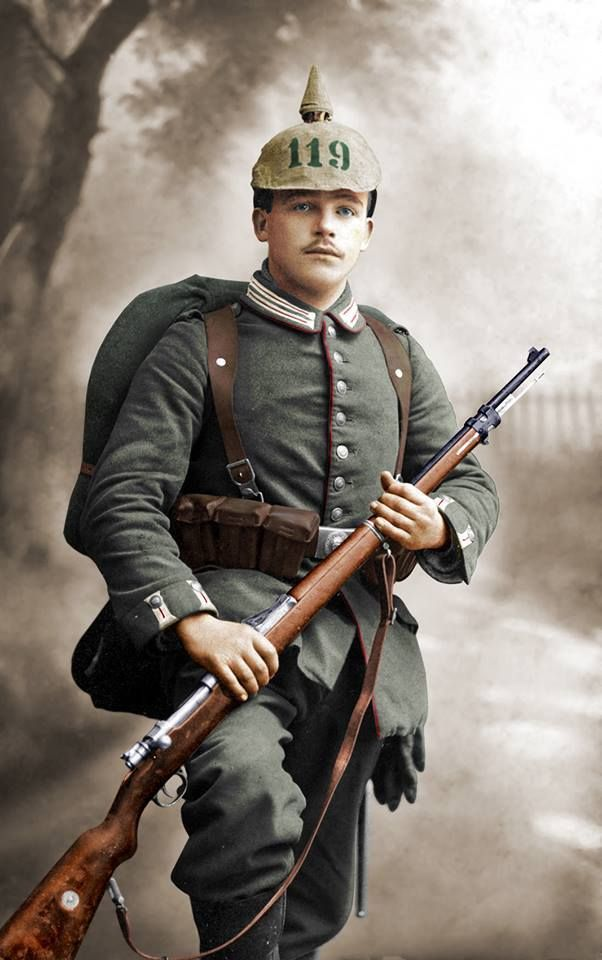 A colorized photo of a young soldier of the 119th Grenadier Regiment of the army of the German ...