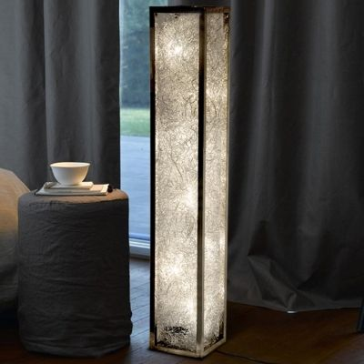 Aluminum Wire Adorned Long Standing Rectangle Floor Lamp Floor
