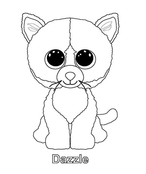 Dazzle Cat Beanie Boo Coloring Page - Google Search: Beanie Boo  Birthdays, Pictures Of Beanie Boos, Cat Coloring Page