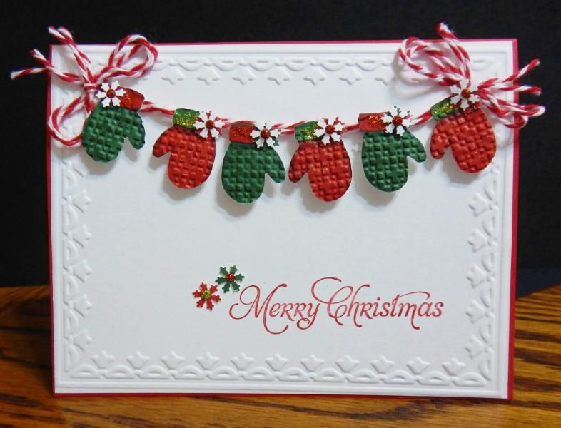 """Sweet Red & Green """"Merry Christmas"""" Mitten's Card...jandjccc - Cards and Paper Crafts at Splitcoaststampers."""