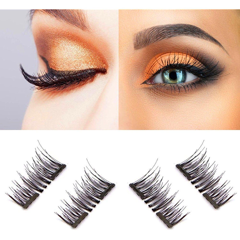 d2ff9d5240f Dual Magnetic False Eyelashes, All New 3D Reusable False Magnet Eyelashes,  No Glue 1 pair (4 piece) 0.2MM Ultra Thin Fake Eyelashes for Natural Look,  ...