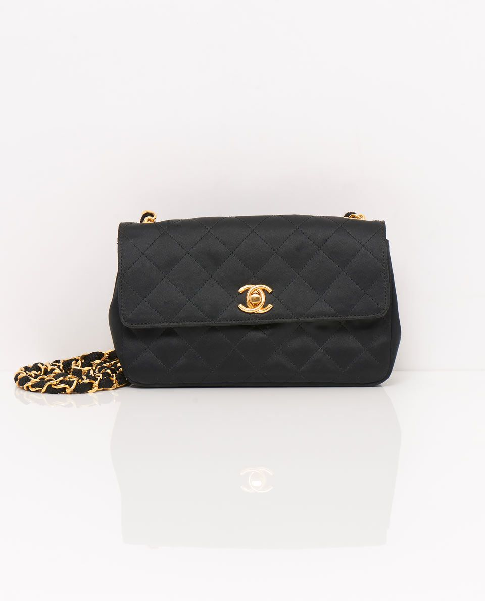 39dcf9aef9ea This beautiful vintage Chanel satin mini cross body bag is constructed with  the trademark 'Matalasse' diamond quilting.. £1495