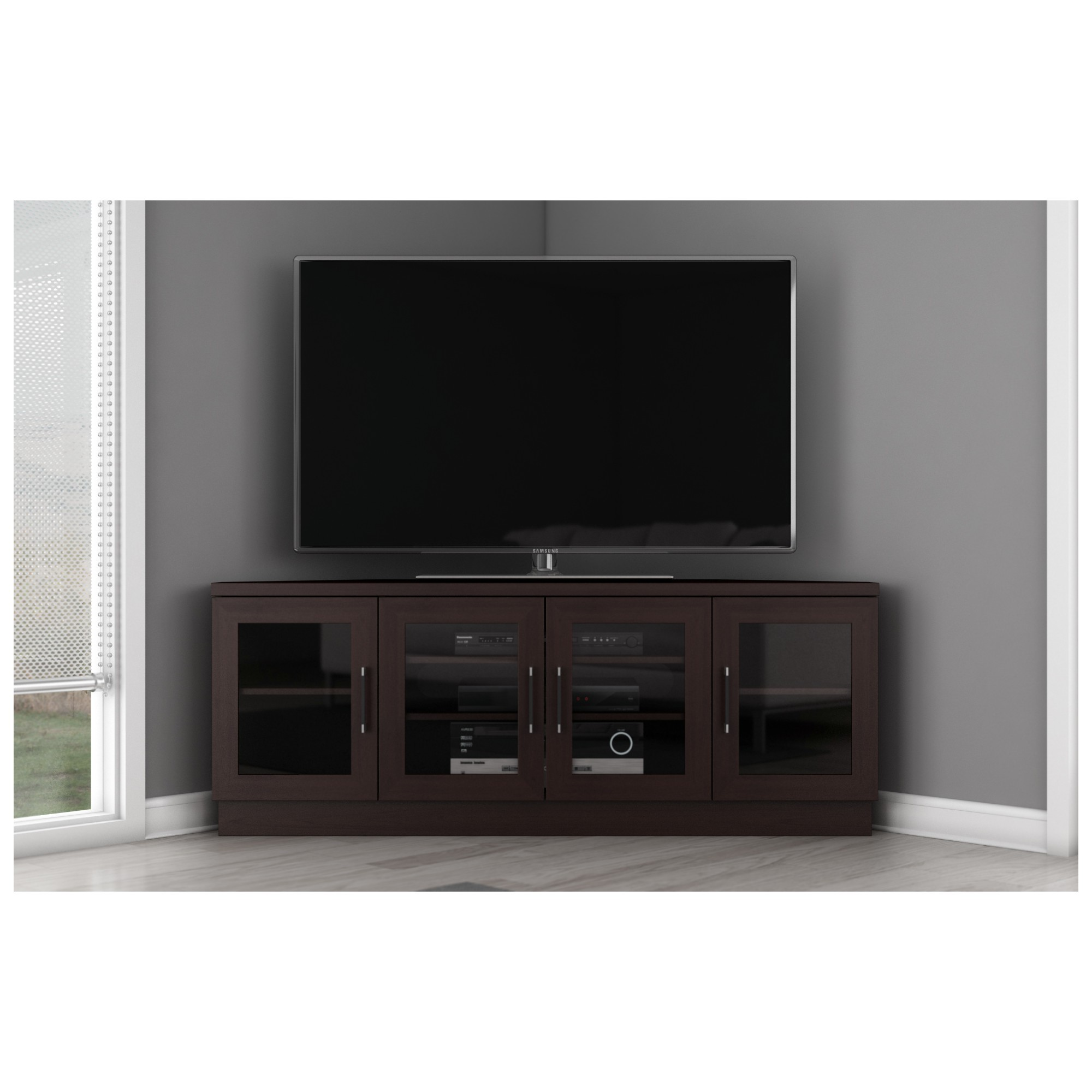 Furnitech Ft60cccw 60 Inch Tv Stand Contemporary Corner Wenge Contemporary Tv Stands Corner Tv Tv Stand
