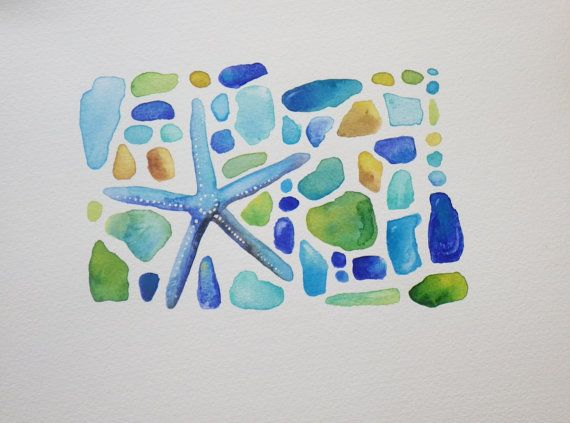Starfish And Sea Glass Watercolor Original By Brightsummersky