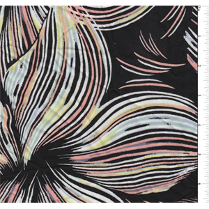 Black background with a large linear floralprint in pastel yellow, blue, peach, lavender and white. A lightweight rayon fabric with good drape.Compare to $12.00/yd