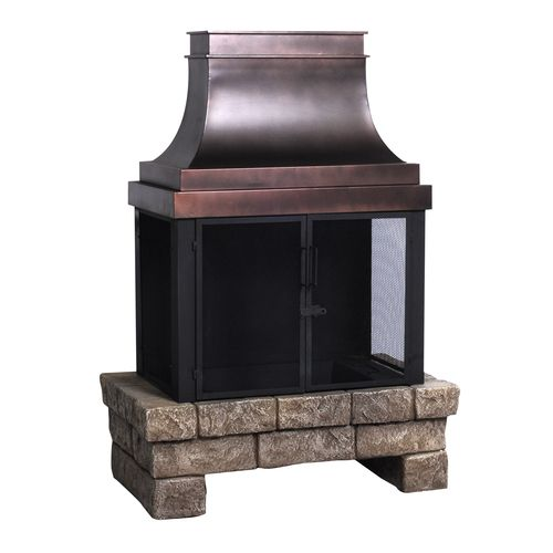 Allen Roth Stone And Bronze Outdoor Wood Fireplace Item 89801