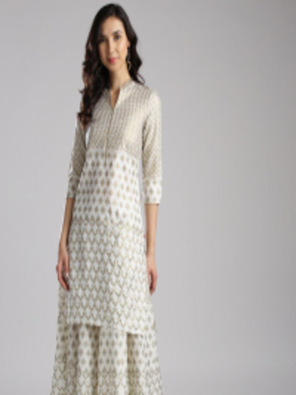 31159b5c0bd Buy W Women Off White   Golden Printed Straight Kurta - Kurtas for Women  2402500