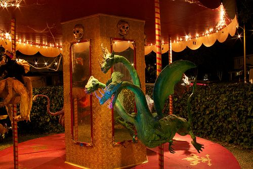 Rasputins Carnival of Risk Scarosel 3-headed dragon Halloween - circus halloween decorations