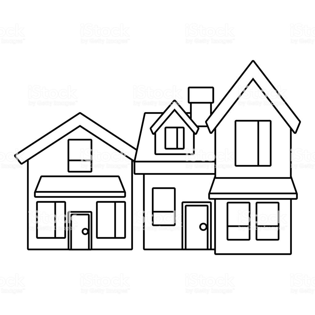 Two Storey Houses With Chimney Architecture Residential Vector Two Storey House Vector Art Free Vector Art
