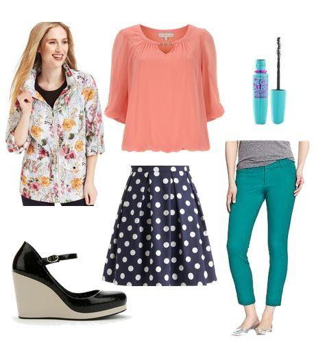 Teal pants, peach shirt, floral jacket, polkadot skirt, black heels, mascara
