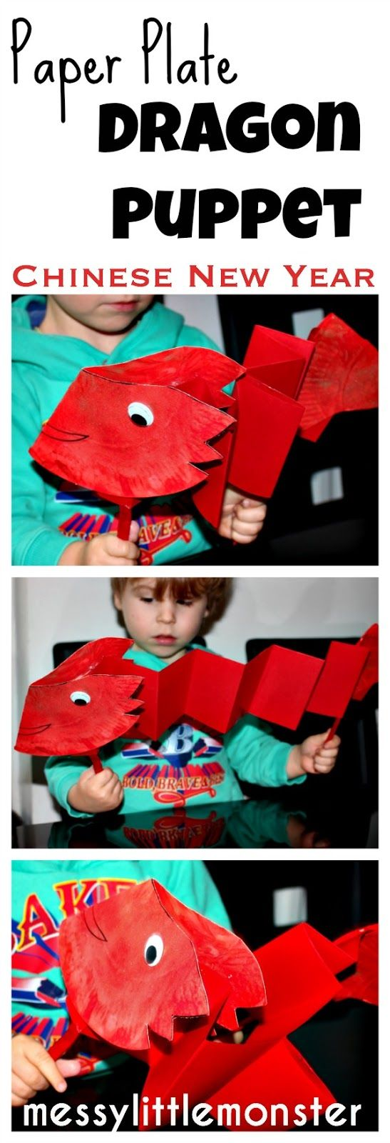 Paper Plate Dragon Puppet