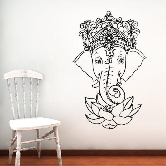 Elephant Wall Decal Vinyl Stickers Yoga Ganesh Decals Tribal Buddha Om Lotus Home Decor Indie Elepha Elephant Wall