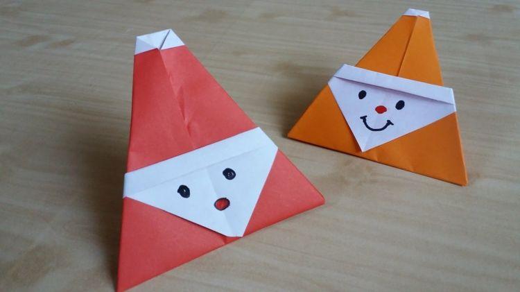 nikolaus kinder basteln origami papier rot schneemann. Black Bedroom Furniture Sets. Home Design Ideas
