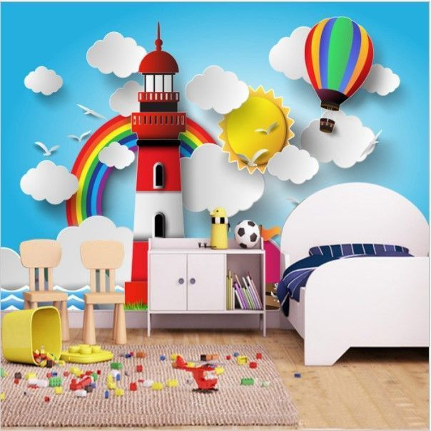 3d Cartoon Lighthouse Rainbow Balloon Wallpaper For Kids