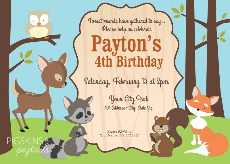Forest Friends Woodland Theme Birthday Party Invitations