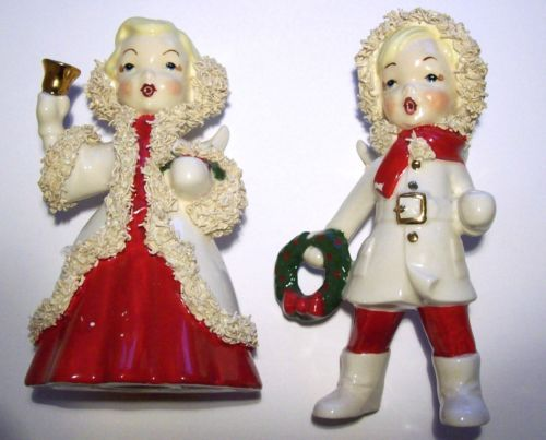 Rare-Vintage-Christmas-Spaghetti-Girl-Box-Angel-Figurine-Candle-Holders-Signed