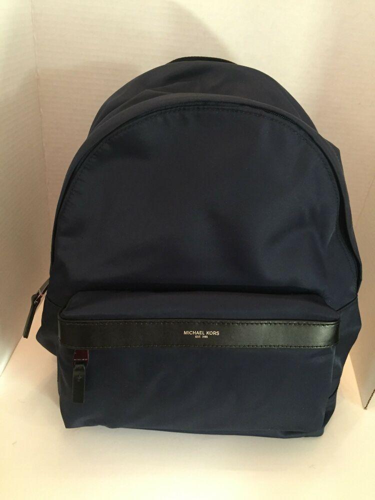 NWT MICHAEL KORS Kent Backpack Navy Blue Nylon Work School Travel MSRP  198  - Travel Backpack b77f7ebbce4f8