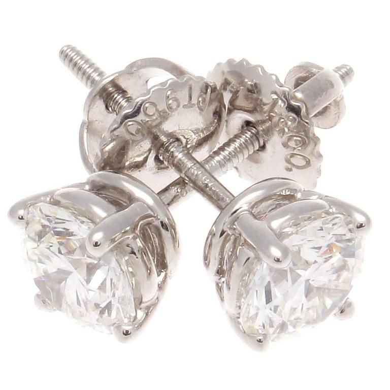 Tiffany Diamond Stud Platinum Earrings From A Unique Collection Of Vintage