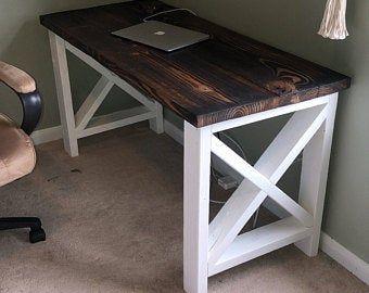 Farmhouse Compter Desk In 2020 Diy Desk Plans Handmade Desks Homemade Desk