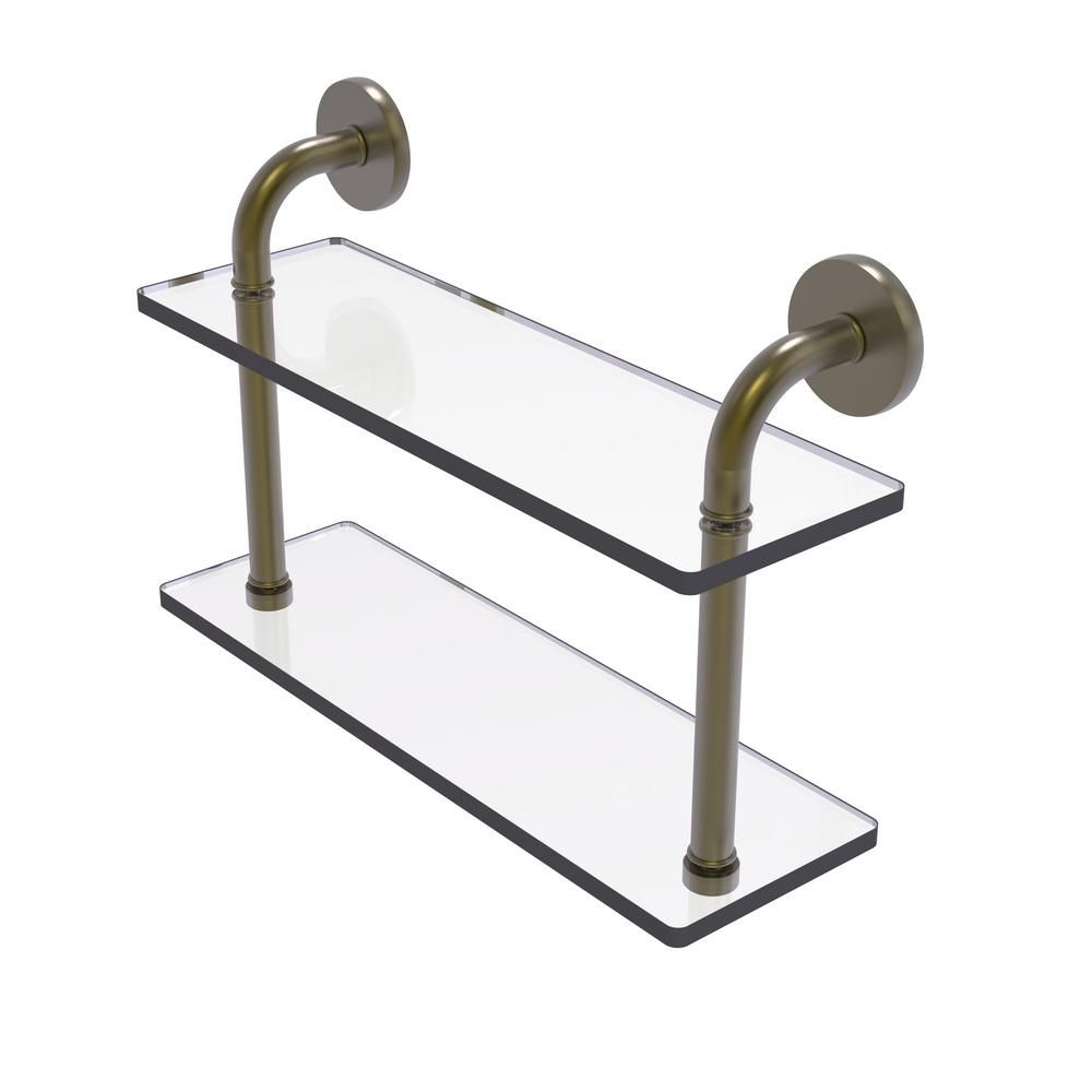 Allied Brass Remi Collection 16 in. 2-Tiered Glass Shelf in Antique Brass
