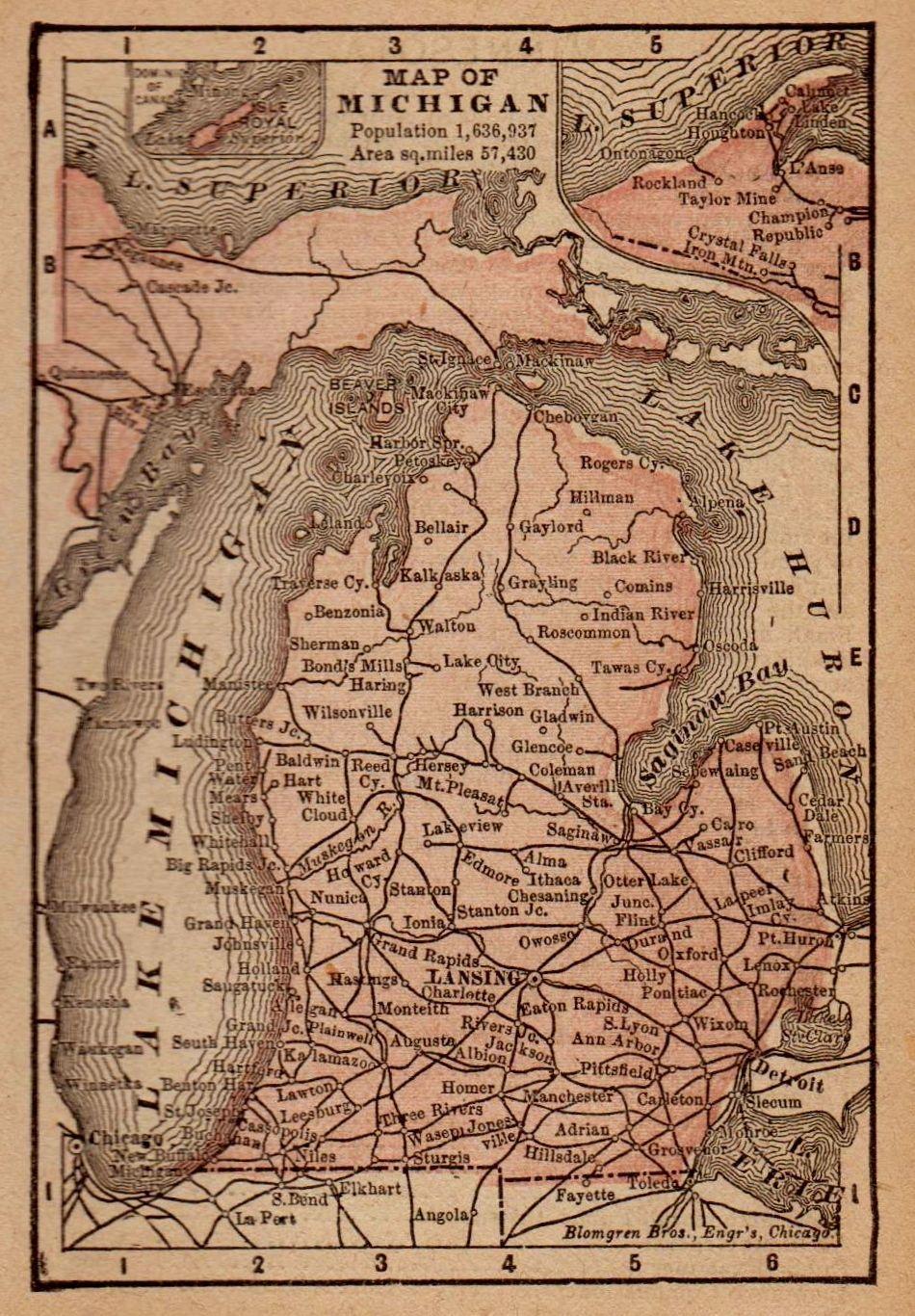 Antique Michigan Map 1888 Depictions Of Michigan Pinterest