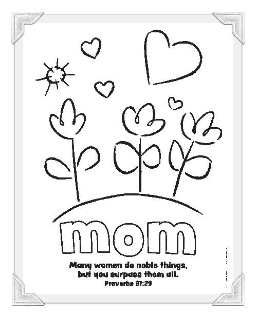 Christian Mother Day Cards For Kids To Color Mothers Day