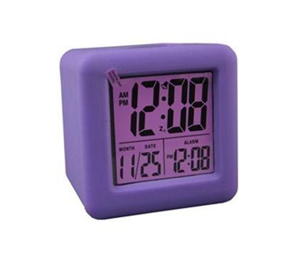 Purple Cubed LCD Digital Alarm Clock - College dorm alarm clock dorm room stuff cheap college supplies stuff for your dorm room