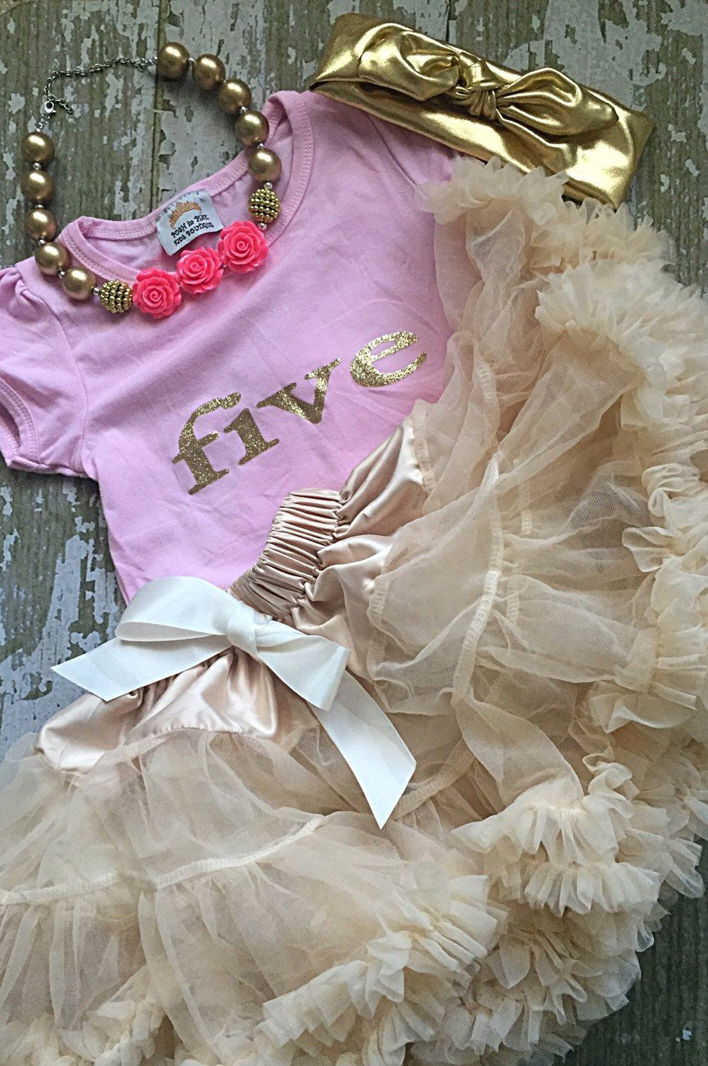 Five Year Old Birthday Outfit Gold Lettering Ivory Petti Skirt Chiffon Girls Party Toddler 5 Cream White Shirt Set