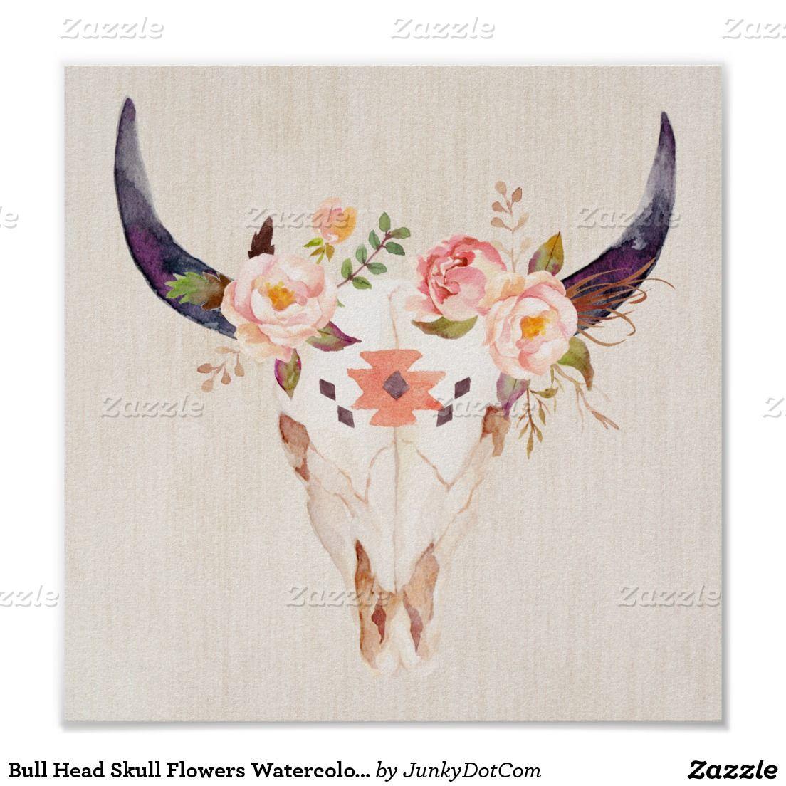 Bull Head Skull Flowers Watercolor Illustration Poster - March 11 #zazzle #junkydotcom