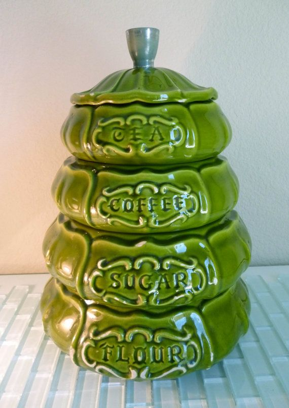 Attirant Vintage Treasure Craft Green Canister Set Kitchen Stacking Ceramic USA  Pottery Mid Century Flour Sugar Coffee