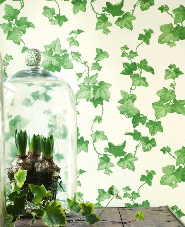Papel hiedra verde telas papel papeles pintados con for Papel pintado hojas verdes