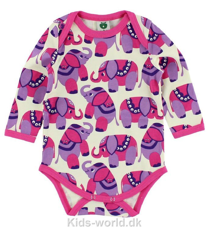 cb9d1a04a29e Småfolk l æ Body - Creme m. Pink Lavenel elefanter - Børnetøj med ...