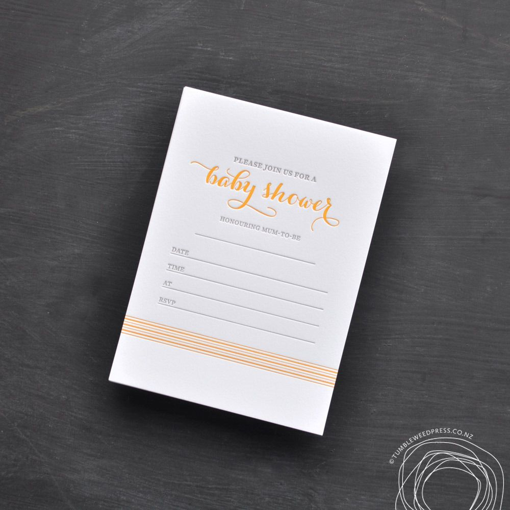 Yellow Striped Letterpress Baby Shower Invitations. Printed on a ...