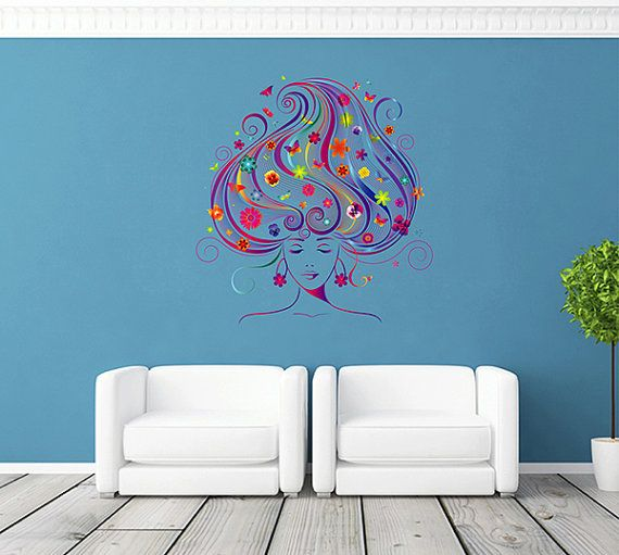 Kcik258 Full Color Wall Decal Girl Face Flowers Hair Salon Hairdresser Wall Colors Music Wall Decal Wall Decals