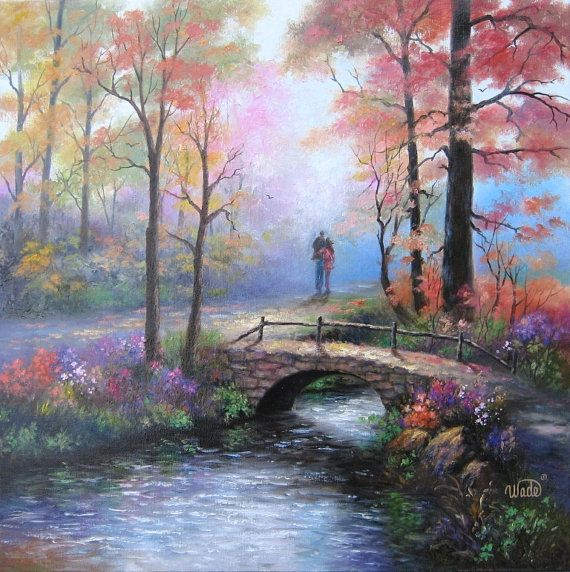 Whispers Original Oil Painting 24X24 Lovers Walking
